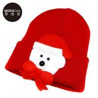 【摩達客】兒童嬰幼兒聖誕小白熊蝴蝶結保暖毛線帽針織帽(紅色)