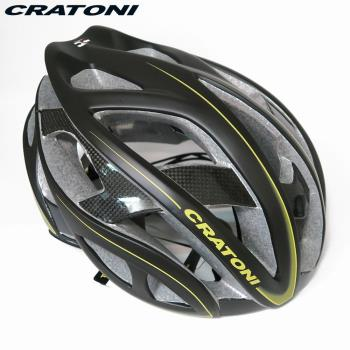 CRATONI 德國專業品牌 TERRON 公路車用安全帽/碳纖維支架-黑黃