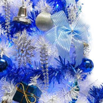 【摩達客】台灣製15呎/15尺(450cm)豪華版夢幻白色聖誕樹(銀藍系配件組)+100燈LED燈藍白光9串(附IC控制器)