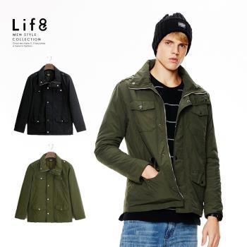 Life8-Casual 防風輕潑水 翻領舖棉外套-軍綠色/黑色-10024