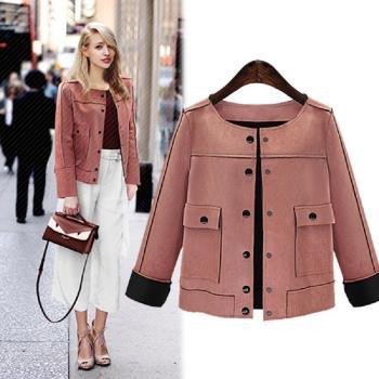 (現貨+預購 RN-girls)-【M3078】加大碼街頭時尚仿麂皮休閒短外套夾克