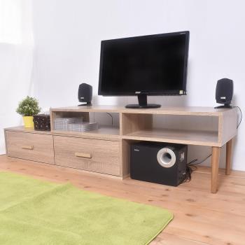凱堡 雙層活動電視櫃組 簡易組裝 木紋風