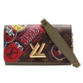 LV M67270經典Twist Chain系列Monogram帆布配EPI皮革Kabuki貼紙金屬轉釦手拿/斜背包(軍綠)