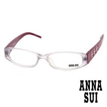 Anna Sui 日本安娜蘇 時尚粉鑽幾何造型平光眼鏡(酒紅) AS102E03