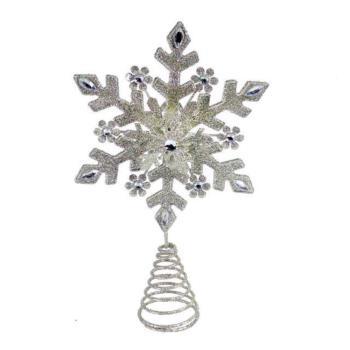【摩達客】銀色雪花聖誕樹頂星 (放置於聖誕樹頂部/4尺以上聖誕樹適用)