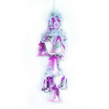 【摩達客】聖誕浪漫彩繪鐘串吊飾(銀紫色系)