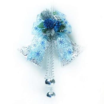 【摩達客】10吋浪漫透明緞帶雙花鐘吊飾-藍銀色