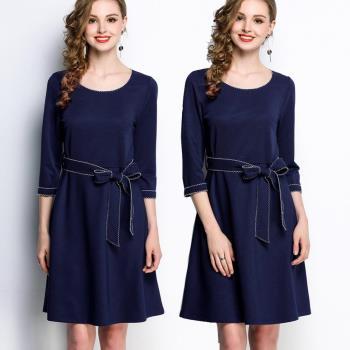 【麗質達人】HN5276藍色綁帶七分袖洋裝(L-5XL)