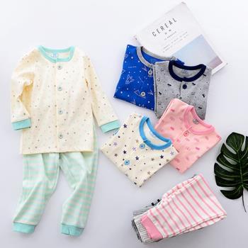 童裝睡褲家居服 日本嬰幼兒開衫高腰護肚褲套裝肚圍