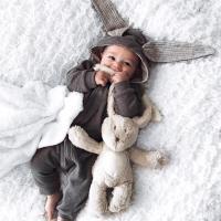 可愛大耳朵兔子連帽長袖連身衣 爬服 哈衣