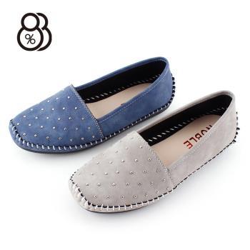 88%MIT台灣製圓頭鉚釘軟底套腳豆豆鞋休閒鞋懶人鞋