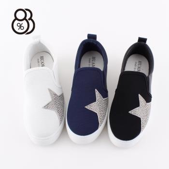 88% 韓國東大門流行圓頭拼接鉚釘五角星套腳厚底休閒鞋懶人鞋