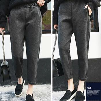 SCL 保暖毛呢好穿修腿寬鬆九分長褲 黑色/灰色/米色(S~2L)