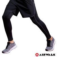 【AIRWALK】男款運動緊身長褲-男-黑色