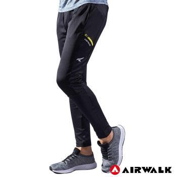 【AIRWALK】男款剪接運動長褲-男-黑色