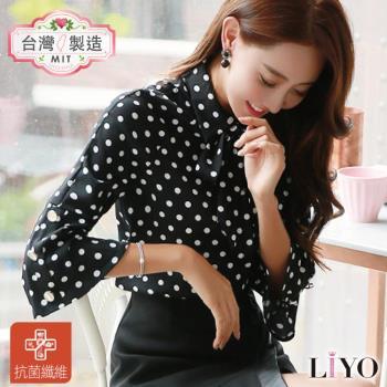 襯衫MIT抗菌除臭喇叭袖合身點點女裝黑襯衫LIYO理優專利商品E745024