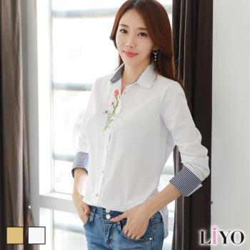 衫韓版刺繡花版寬鬆OL袖口反摺首爾型女長袖襯衫LIYO理優E745018