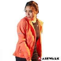 【AIRWALK】女款連帽收納風衣外套-女-淺橘色
