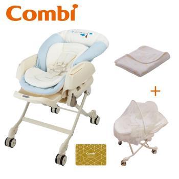 日本Combi Letto電動安撫餐搖椅 ST款 贈六層紗多用途四季被+蚊帳