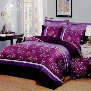 BUTTERFLY 柔絲絨 單人薄床包枕套二件式 【紫汐佳人】