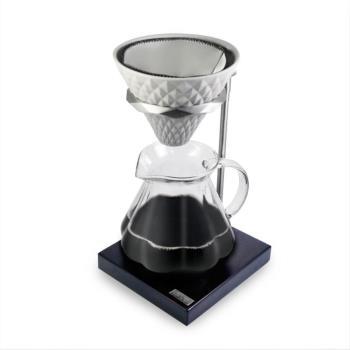 Driver Premium檀木手沖組 (陶瓷濾杯+多用途玻璃奶缸+檀木架)