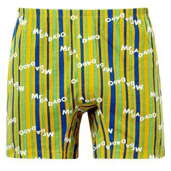【DADADO】DA條紋 M-LL 印花平口褲(黃)純棉四角-男士內褲-透氣舒適