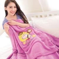 【奶油獅】台灣製造 加厚長毛雙面珊瑚絨保暖毯(星星牛仔款)-桃紫