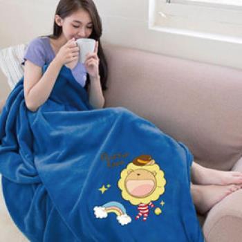 【奶油獅】台灣製造 加厚長毛雙面珊瑚絨保暖毯(彩虹牛仔款)-湛藍