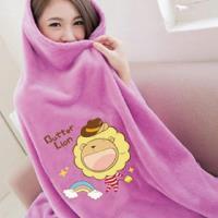 【奶油獅】台灣製造 加厚長毛雙面珊瑚絨保暖毯(彩虹牛仔款)-桃紫