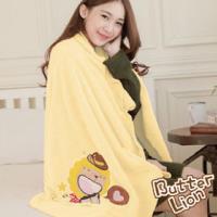 【奶油獅】台灣製造-開纖紗柔膚吸水/保暖浴巾毯-星星牛仔(暖黃)