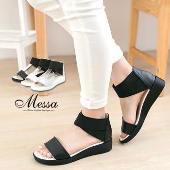 【Messa米莎專櫃女鞋】MIT 前衛風潮舒適一字寬帶內真皮楔型涼鞋-三色