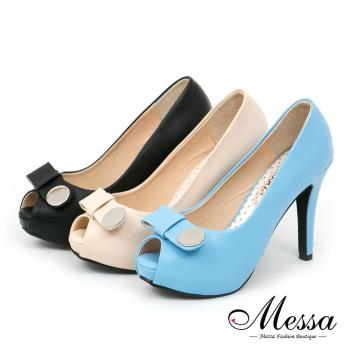 【Messa米莎專櫃女鞋】MIT 法式甜心纖細感蝴蝶結內真皮經典魚口高跟鞋-三色