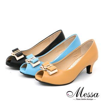 【Messa米莎專櫃女鞋】MIT 愛戀珍藏金屬雙拼色蝴蝶結內真皮魚口低跟鞋-三色