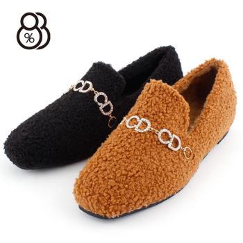 88%韓版秋冬淺口懶人鞋百搭小方頭棉毛加絨內刷毛低跟樂福鞋