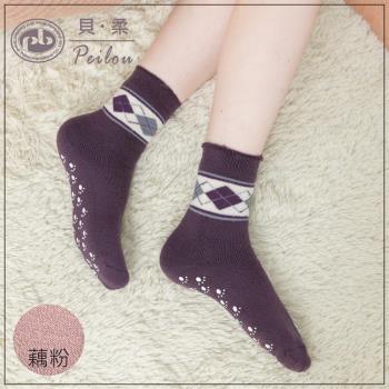 【PEILOU】裹起毛爆暖止滑毛襪-橫格藕粉