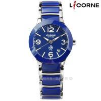 LICORNE 力抗 / LT097LNNA / entree 數字刻度日期藍寶石水晶玻璃防水不鏽鋼陶瓷手錶 藍色 27mm