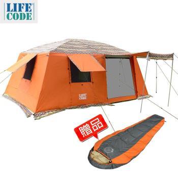 【LIFECODE】民族風《二房一廳》多用途超大4-8人帳篷-三門三窗-桔色(送極光羽絨睡袋-桔色)
