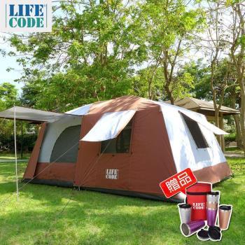 【LIFECODE】二房一廳-抗紫外線超大8人帳篷-二門四窗-咖啡色(送金鍛保溫杯)