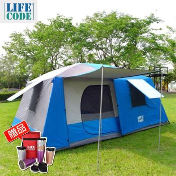 【LIFECODE】二房一廳-抗紫外線超大8人帳篷-二門四窗-3色可選(送金鍛保溫杯)