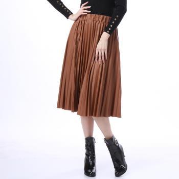 A1 Darin 時尚皮革百摺裙