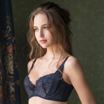任-【華歌爾】側魔翼提托 B-D 罩杯內衣(瓷器藍)蕾絲刺繡-絲棉內襯-豐胸圓潤