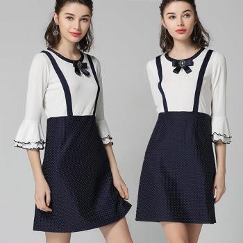 【麗質達人】DD3302波點假兩件洋裝(L-5XL)