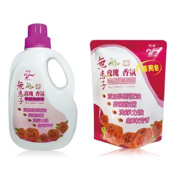 [綺緣無患子】] 茶樹抗菌玫瑰香氛洗衣精2000g(2瓶+4包)小資組