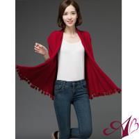 【A3】氣質甜心-輕羊毛流蘇針織外套(紅/桃/卡其/灰)