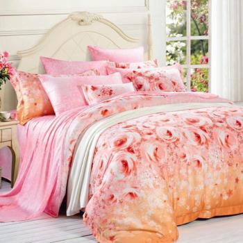 【Betrise橙香憶】特大100%天絲TENCEL四件式鋪棉兩用被床包組