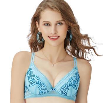 【思薇爾】啵時尚花心思系列A-E罩蕾絲包覆內衣(礦水藍)