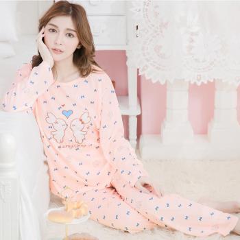 lingling日系 兔子貼布英字蝶結牛奶絲長袖二件式睡衣組(活力淺桔)全尺碼
