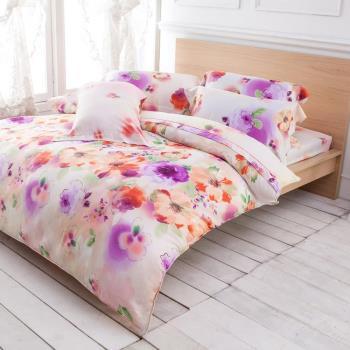 Betrise覓羽花靜 雙人100%天絲TENCEL八件式鋪棉兩用被床罩組