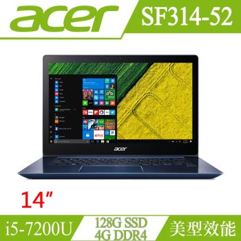 Acer宏碁 Swift 3 效能筆電 SF314-52-5000 14FHD/i5-7200U/4G/128G SSD