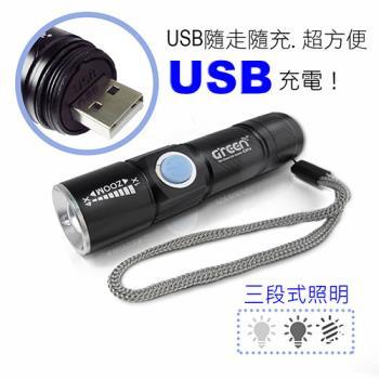 GREENON強光USB充電變焦手電筒